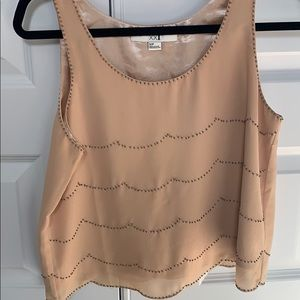 Forever 21 cream blouse tank with bead detail S
